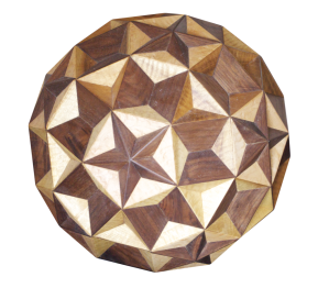 A 3d slice through a 4d stellated polytope made from wood. There are some animations here.